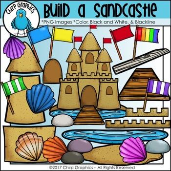 Build a Sandcastle Clip Art Set - Chirp Graphics