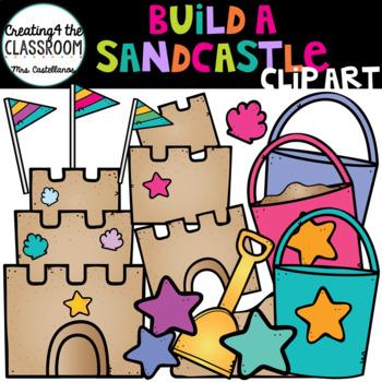 Build a Sandcastle Clip art {Summer Clip Art}