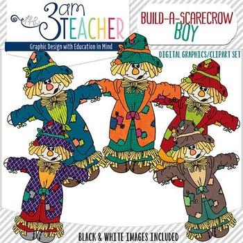 Build a Scarecrow BOY Clip Art Set #1