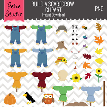ON SALE Build a Scarecrow Clipart Set // Fall Harvest Clipart - Scarecrow100