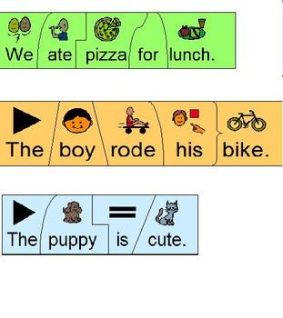 Build a Sentence; Color-Coded Cut & Paste Puzzle; Boardmaker special education