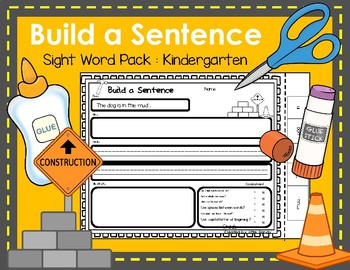 Build a Sentence Cut and Paste - Sentence Building for Kindergarten