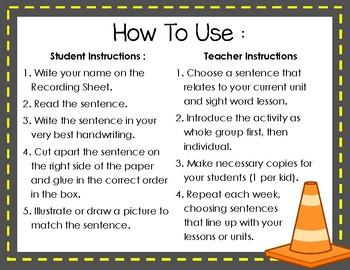 Build a Sentence Cut and Paste - Sentence Building for Kindergarten
