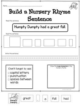 Buildng Sentences  Nursery Rhymes