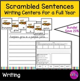 Writing Build a Sentence Worksheets and Scrambled Sentence Cards Growing Bundle