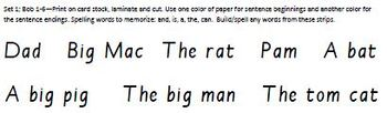 Build-a-Sentence reading manipulative, Set 1