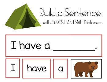 Camping Simple Sentence Building with Forest Animals