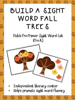 Build a Sight Word Fall Trees Dolch Pre-Primer