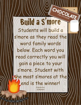 Build a S'more Word Family Activity