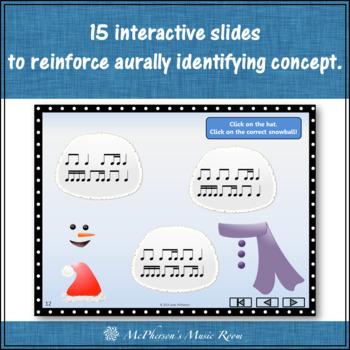 Winter Music: 1 Eighth/2 Sixteenths Interactive Rhythm Game {Build a Snowman}