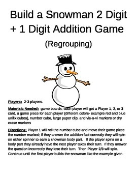 Build a Snowman 2 Digit + 1 Digit Addition Regrouping Game