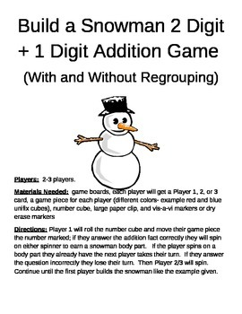 Build a Snowman 2 Digit +1 Digit Addition With and Without Regrouping Games