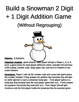 Build a Snowman 2 Digit +1 Digit Addition Without Regrouping Games