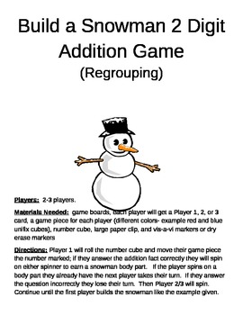 Build a Snowman 2 Digit Addition  regrouping game