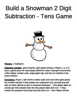 Build a Snowman 2 Digit Subtraction Minus Tens Game