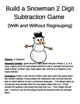 Build a Snowman 2 Digit Subtraction With and Without Regro
