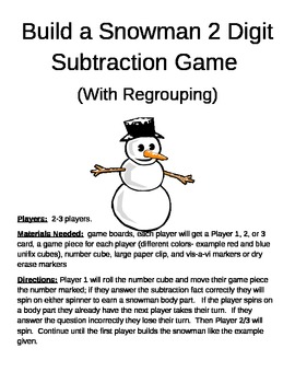 Build a Snowman 2 Digit Subtraction Regrouping Games