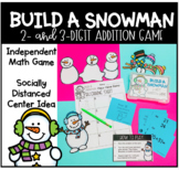 Build a Snowman 2 and 3 Digit Addition Math Game Centers Independent