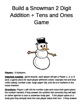 Build a Snowman   2 digit addition plus tens and ones game
