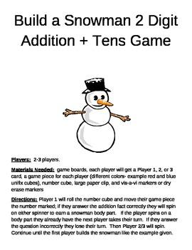 Build a Snowman   2 digit addition plus tens game
