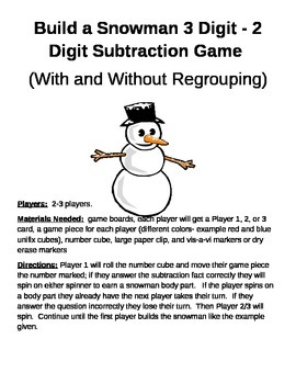 Build a Snowman 3 Digit - 2 Digit Subtraction With and Without Regrouping Games