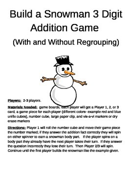 Build a Snowman 3 Digit Addition With and Without Regrouping Games