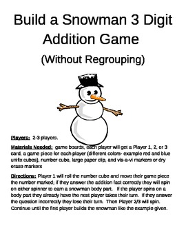 Build a Snowman 3 Digit Addition Without Regrouping Games