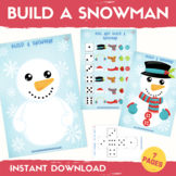 Build a Snowman Activity Winter Math Center Roll a Dice Ma