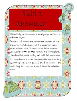 Build a Snowman: Adding -s or -es