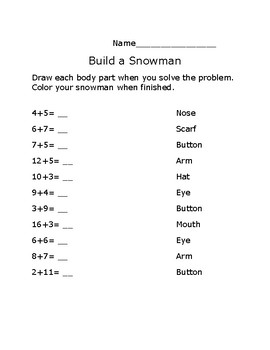 Build a Snowman Addition Activity
