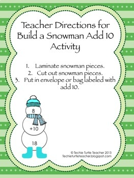 Build a Snowman - Addition Facts - Add 10