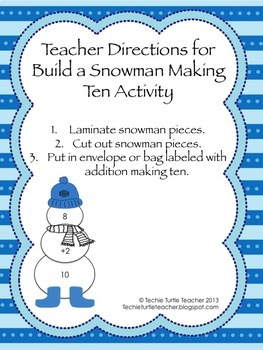 Build a Snowman - Addition Facts - Making Ten