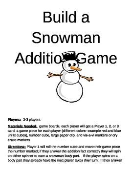 Build a Snowman Addition Multiple Skills Game BULK