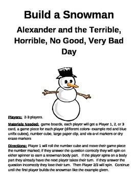 Build a Snowman Alexander and the Terrible, Horrible, No Good, Very Bad Day