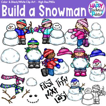 HTP Clip Art Build a Snowman {The Happy Teacher's Palette}