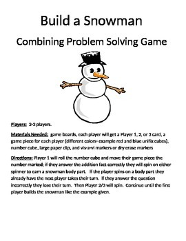 Build a Snowman Combining Word Problems 1 digit + 1 digit