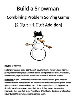 Build a Snowman Combining Word Problems 2 Digit + 1 Digit Addition