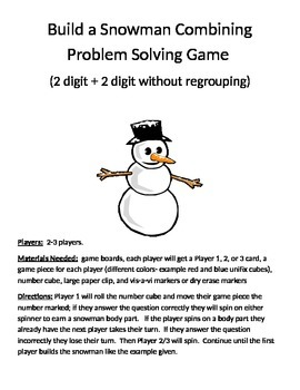 Build a Snowman Combining Word Problems 2 Digit Addition Without Regrouping