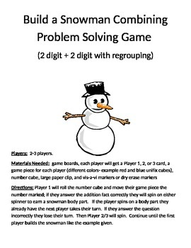 Build a Snowman Combining Word Problems 2 Digit Addition With Regrouping