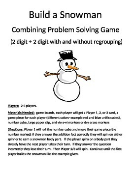 Build a Snowman Combining Word Problems 2 Digit Addition With/Without Regrouping