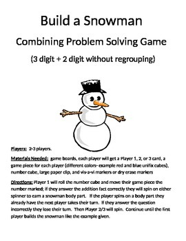 Build a Snowman Combining Word Problems 3 Digit Addition Without Regrouping