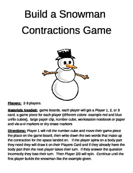 Build a Snowman Contractions Game