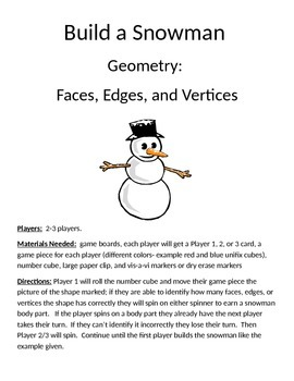 Build a Snowman Geometry Faces, Edges, and Vertices Game