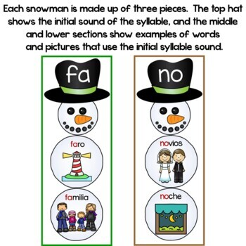Build a Snowman Initial Syllable Sounds In Spanish