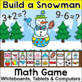 Winter Math Build a Snowman Addition & Subtraction Game - Distance Learning