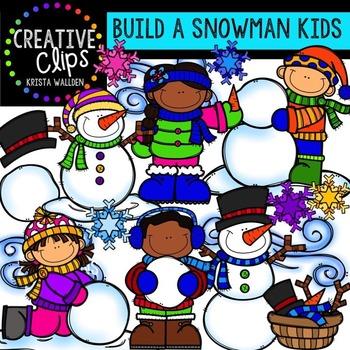 Kids Building a Snowman Clipart {Creative Clips Clipart}