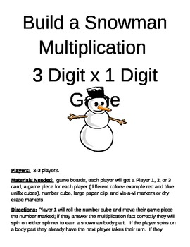Build a Snowman Multiplication 3 Digit x 1 Digit Game