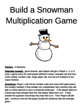 Build a Snowman Multiplication Game