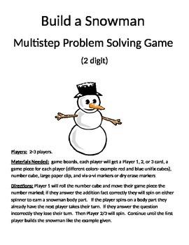 Build a Snowman Multistep Problem Solving 2 digit