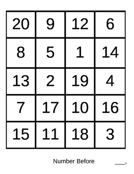 Build a Snowman Number Before, Number After, and Number In Between Game